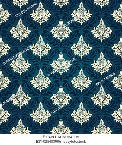 Colorful seamless damask ornate pattern