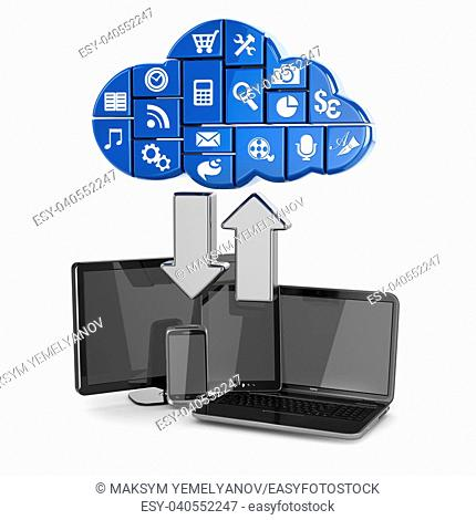 Cloud computing. Laptop, tablet pc and phone. 3d