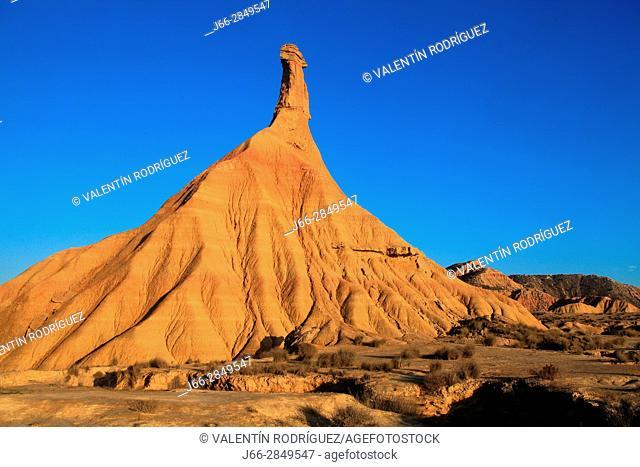 Mountain formation called Cabezo Castildetierra in the area called La Blanca Baja. Natural park Bárdenas Reales. Navarra