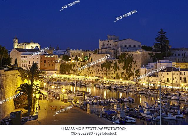 The little port of Ciutadella de Menorca by night, Menorca, Balearic Islands, Spain