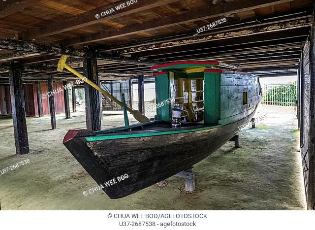 Chinese Hawker Boat displayed at Fort Asia built during British Colony restored and turned into museum, Bandar Sri Aman (Simanggang), Sarawak, Malaysia