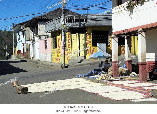 Ecuador, Chillanes, typical street, corn shop