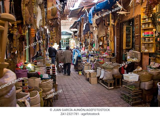 MARRAKESH, MOROCCO : Unidentified people shopping in the souk of Marrakesh. In 2009 the medina got part of UNESCO World Heritage