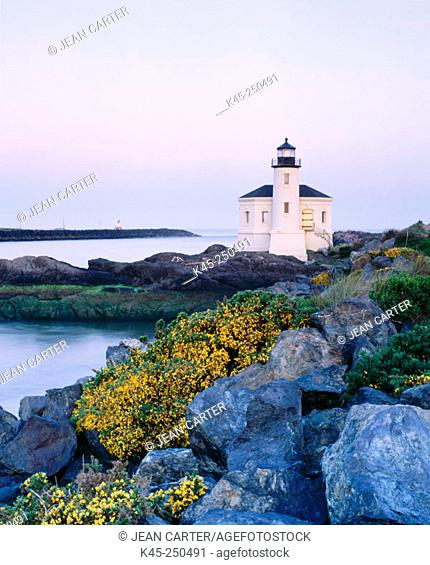 Coquille River Lighthouse at Bullard's Beach State Park. Southern Oregon Coast, USA