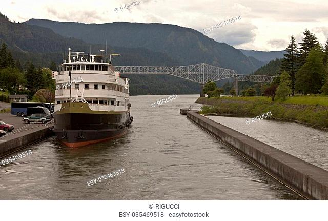 A Cruise ship waiting to load passengers in the Columbia River Gorge Oregon