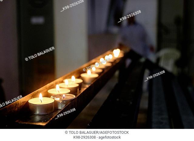 Votive candles, catedral de la Virgen de las Nieves, Cathedral of Ibiza, 13th Century , Ibiza, Balearic Islands, Spain