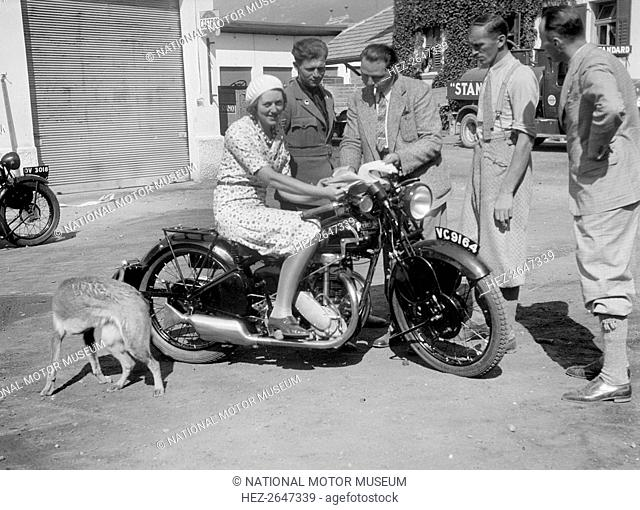 Betty Lemitte on a 499 cc Rudge Ulster motorcycle, 1930s. Artist: Bill Brunell