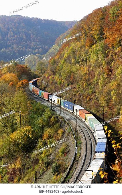 Freight train on rails, Geislinger Steige between Geislingen and Amstetten, Baden-Württemberg, Germany