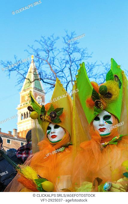 Colorful masks and costumes of Carnival of Venice famous festival worldwide Veneto Italy Europe