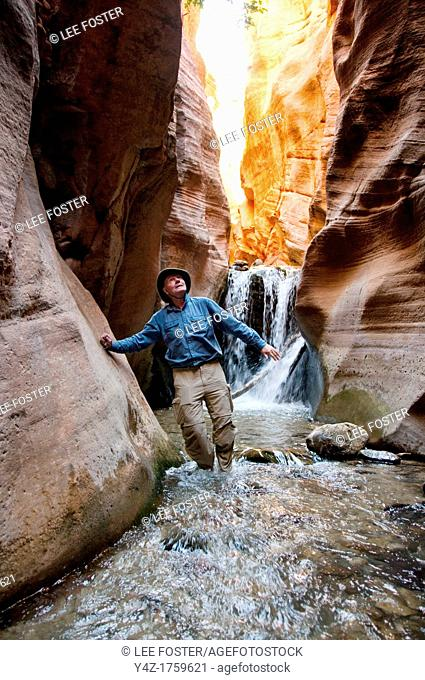 USA Utah, hike up the slot canyon known as Kanarra Creek, near Zion National Park, showing the red iron oxide rocks and the water stream erosion creating...