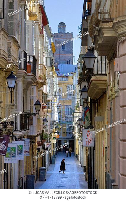 Calle José del Toro in old Town,Cádiz, Andalusia, Spain