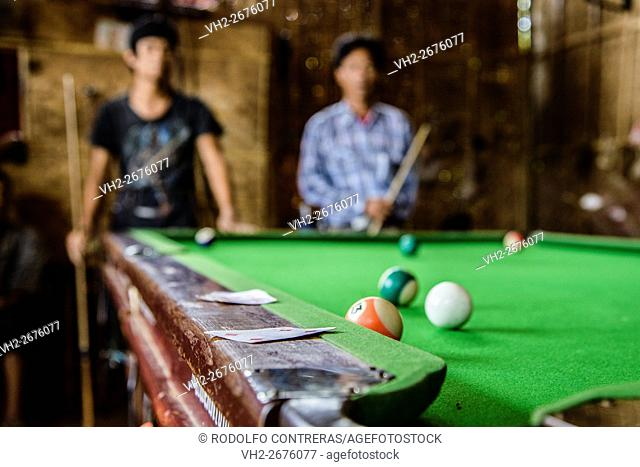 Playing snooker in Indein, Myanmar