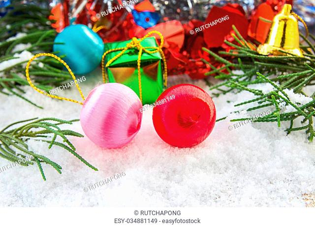 Christmas ball and christmas decorations in the snow. Christmas concept