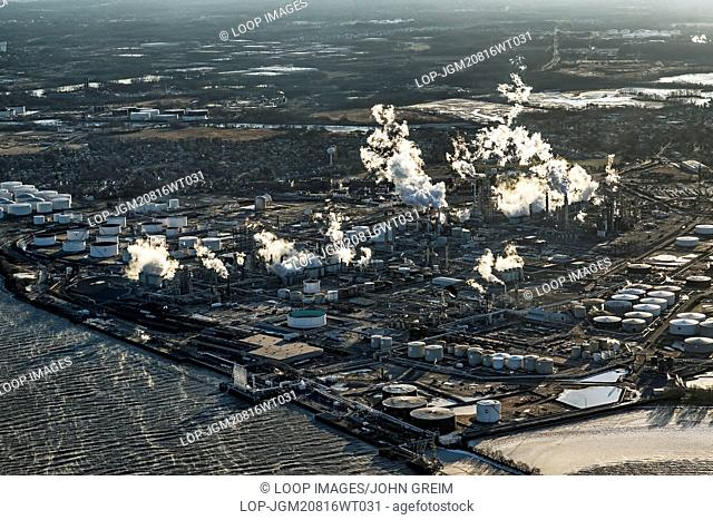 Aerial view of an oil refinery in Philadelphia