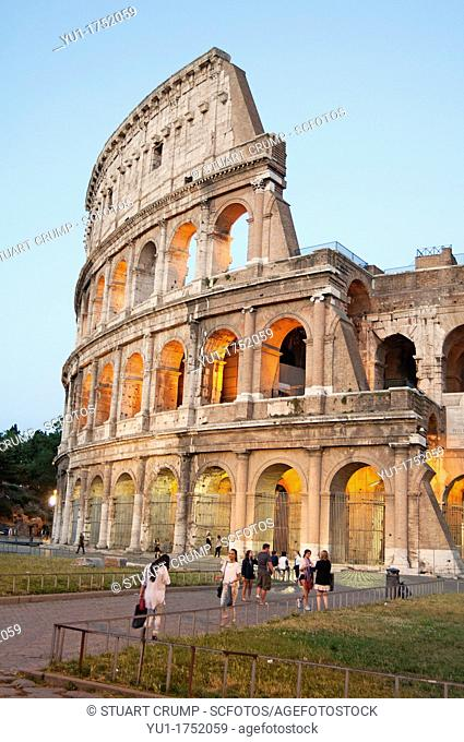 The exterior of the Colosseum at dusk, Rome, Italy, Europe