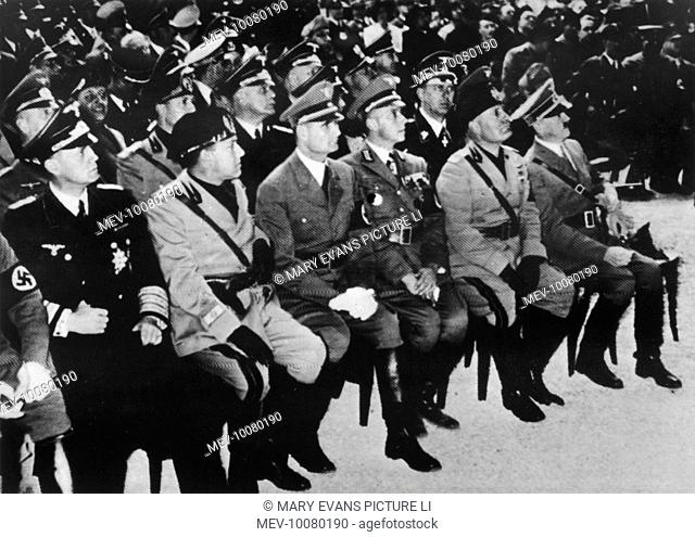 Hitler's visit to Italy - in the Basilica Maxentius, Rome, from right; Hitler, Mussolini, German Ambassador for Italy, Rudolf Hess, Foreign Minister