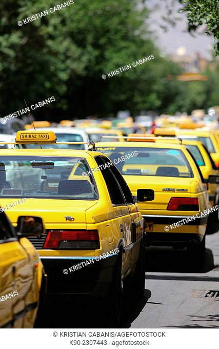 Taxis on the street of Shiraz, Iran, Asian