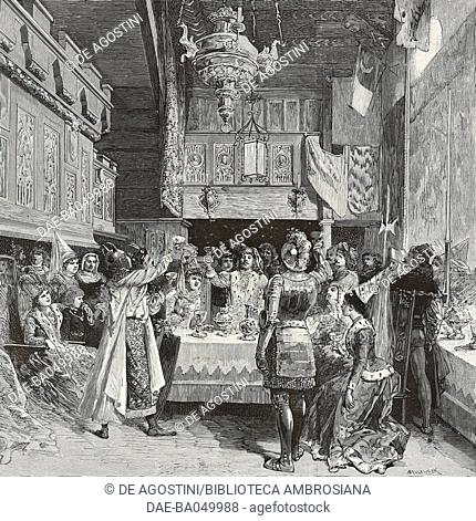 Medieval-style banquet at Pierre Loti's home, making a toast, Rochefort-sur-Mer, France, illustration by Bellenger from L'Illustration, No 2356, April 21, 1888