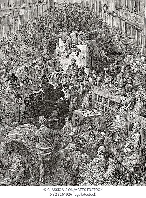 Crowded London street, circa 1869, by French artist Gustave Dore, who worked with British journalist Blanchard Jerrold to produce the book London: A Pilgrimage