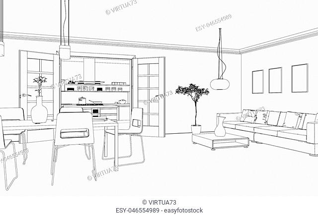 Living room drawing gradation Stock Photos and Images | age