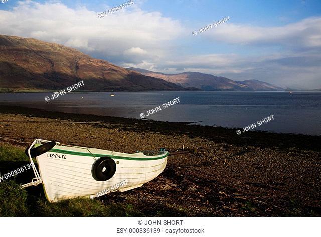 Boat on shore of Fishnish, Isle of Mull, Scotland
