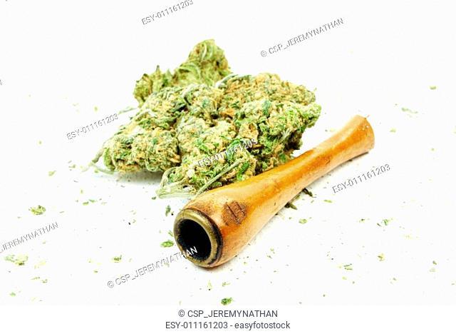 Marijuana and Cannabis, White Background