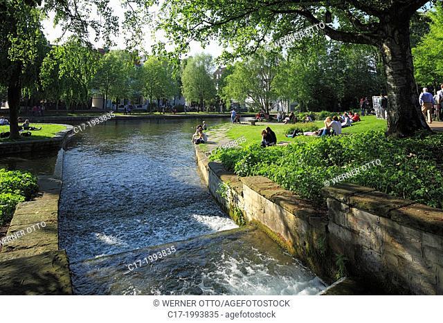 Germany, Paderborn, Pader, Lippe, Alme, Westphalian Lowland, East Westphalia, North Rhine-Westphalia, NRW, Pader source, Pader headwaters, leisure park