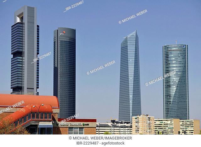 Cuatro Torres Business Area, formerly the Madrid Arena, with four skyscrapers, Torre Caja Madrid, formerly the Repsol Tower, Torre PwC