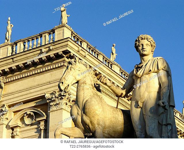 Rome (Italy). Dioscuros sculpture in the Capitoline Cordonata Rome