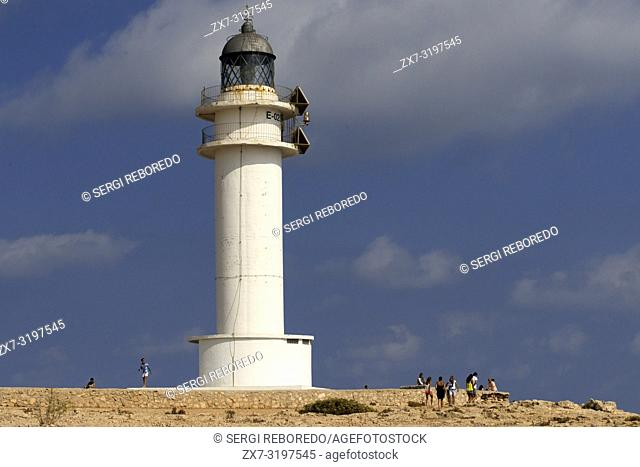 Es Cap de Barbaria lighthouse, in Formentera, Balears Islands. Spain. Barbaria cape formentera lighthouse road