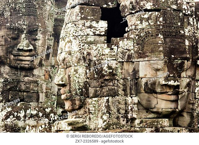 The faces of the Bayon temple. Angkor Thom. We stand before it stunned. It is like nothing else in the land. The Bayon is located in the center of the city of...