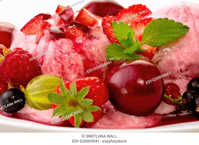 Two ball strawberry ice with fruits isolated on white background