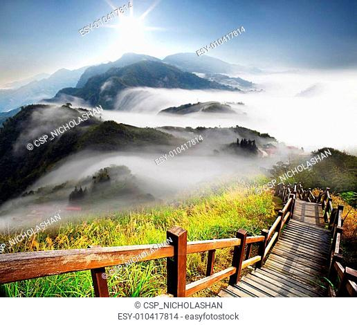 Dramatic clouds with mountain