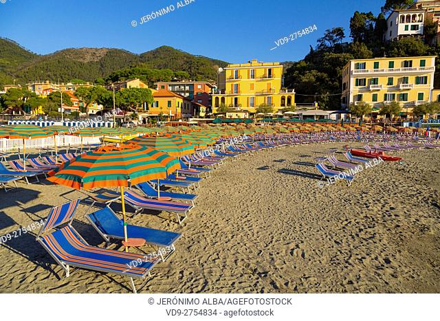 Beach of Monterosso al Mare, Riviera de Levanto, fishing village, Cinque Terre. Genoa. Mediterranean Sea. Liguria, Italy Europe