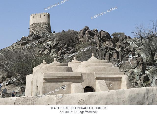 Portuguese watch tower overlooking Al Badiyah (Al Bidyah, Al Bidya) Mosque, Fujairah, United Arab Emirates