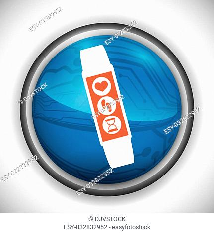 Smart watch design over white background, vector illustration