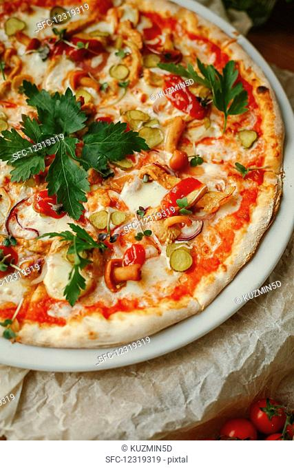 Vegetarian pizza with mushrooms, chillies, pickled gherkins and mozzarella