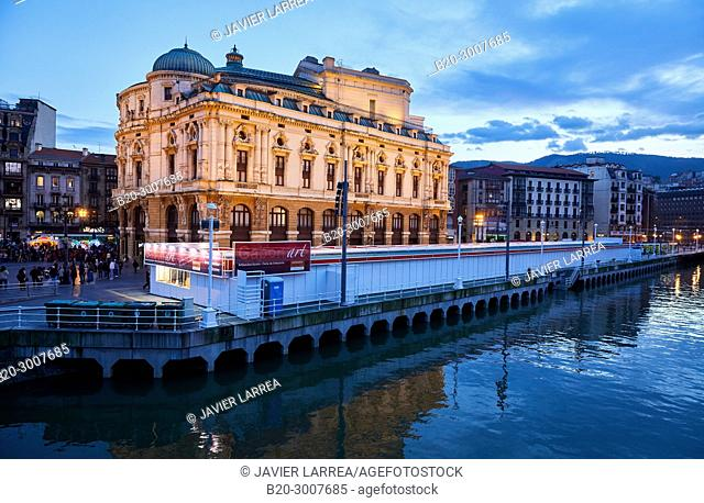 Nervion river, Arriaga Theatre, Bilbao, Bizkaia, Basque Country, Spain, Europe
