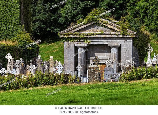 Mausoleum and cemetry in the village of Kildysart, Killadysert, Co. Clare, Ireland