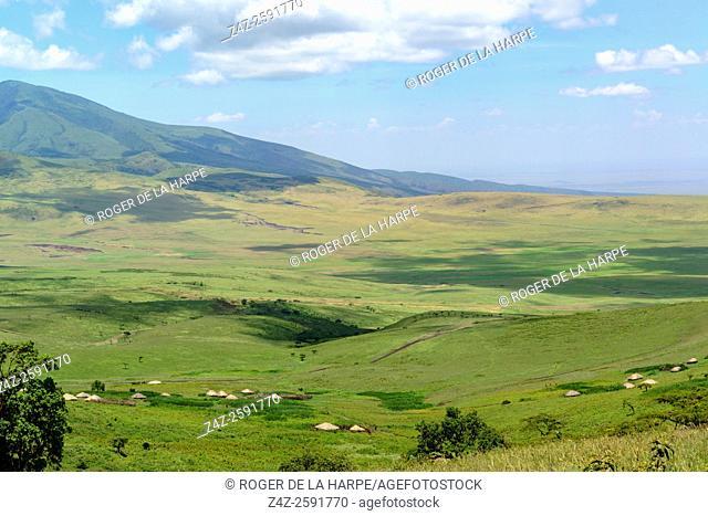 Maasai Settlements on the slopes of Ngorongoro Crater. Ngorongoro Conservation Area (NCA). Tanzania