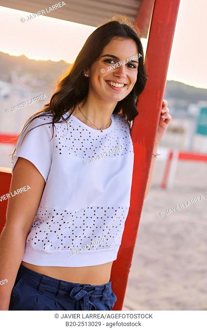 Young girl 19 years. Hendaye beach. Aquitaine. France