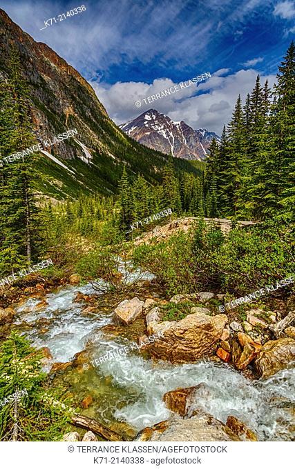 A glacier stream and Pyramid Mountain in Jasper National Park, Alberta, Canada