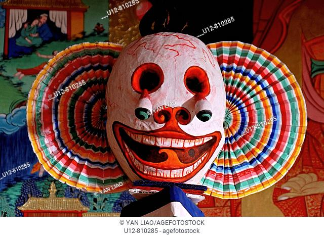 This buddhist mask is about to show the unevoidable death for us all.Used and worn during buddhist monastery festivals