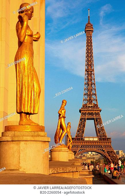 Trocadero. Eiffel tower. Paris. France