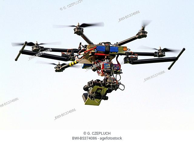 flying hexacopter with camera