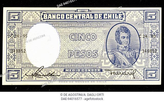 5 pesos banknote, 1944, obverse, Bernardo O'Higgins Riquelme (1778-1842). Chile, 20th century