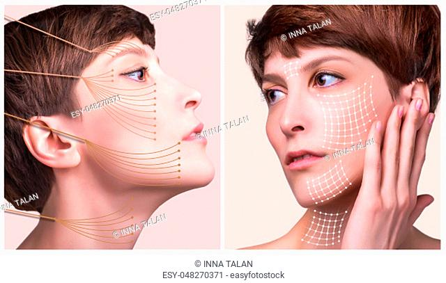 The lifting, skin, plastic surgery concept. Woman face with marks and arrows. Portrait of young caucasian woman at studio isolated on pastel