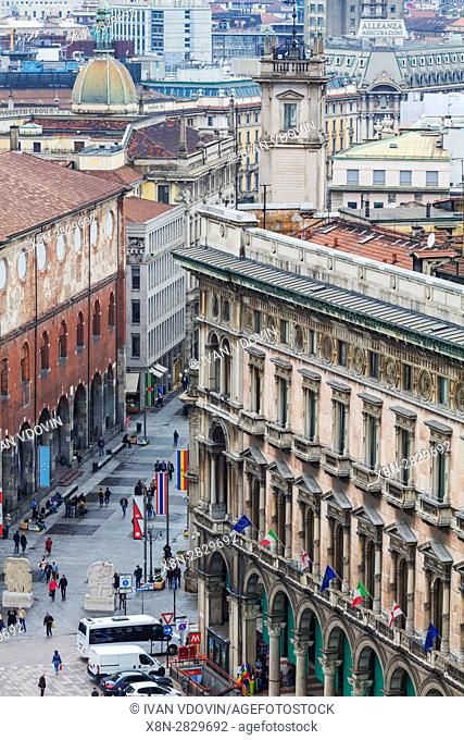 View from the roof of Cathedral, Duomo, Milan, Lombardy, Italy