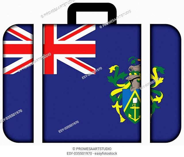 Flag of Pitcairn Islands. Suitcase icon, travel and transportation concept