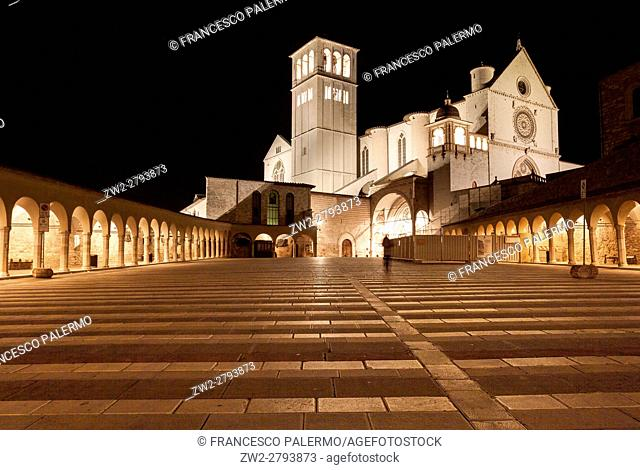 Facade of church at night illuminated. Assisi, Umbria. Italy